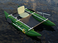Inflatable catamaran with an inflatable frame CATARAFT
