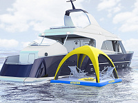 Inflatable floating shelter for water-based activities and recreation